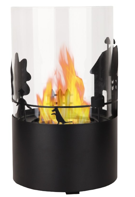 Tabletop Ventless Bio-ethanol Fireplace for Outdoor and Indoor in Black