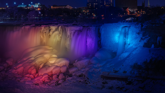 A frozen Niagara Falls light show