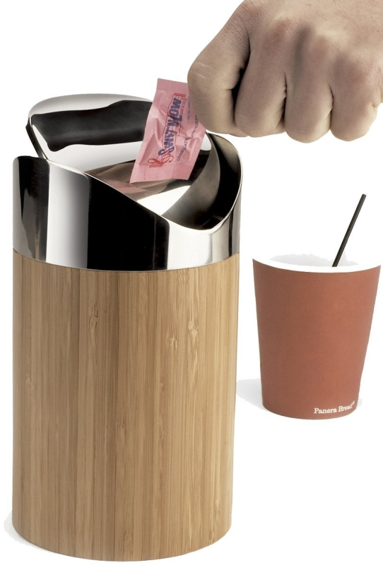 Bamboo Counter Trash Bin