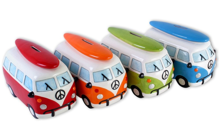 Camper Van Bus – Ceramic Piggy Bank