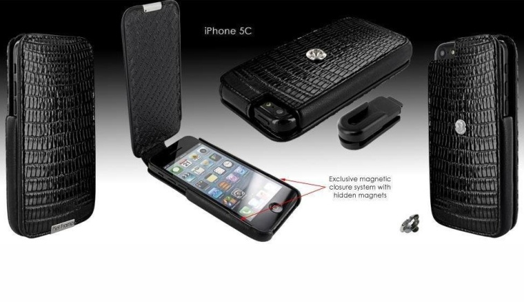 Apple iPhone 5C Piel Frama iMagnum Black Lizard Leather Cover