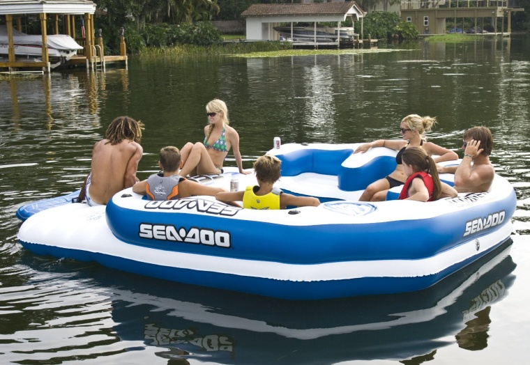Mega Island 8 Person Inflatable Party Raft w4 Speaker Music