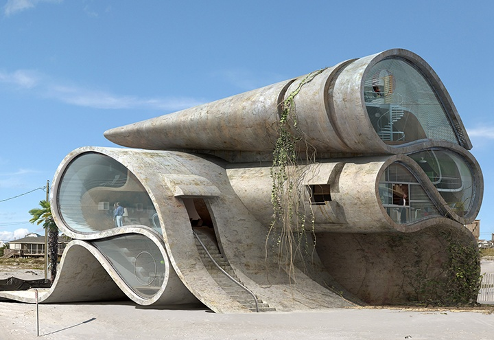 Imagines disaster resistant surrealist structures