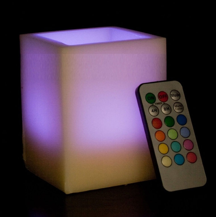 Remote Controlled Multi-Color Flameless Wax LED Candle