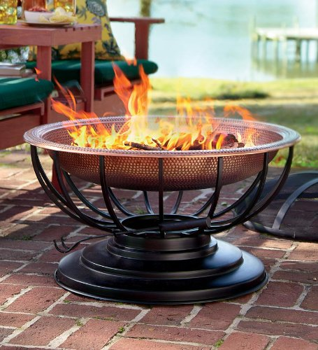 Solid Hammered Copper Fire Pit With Lid Converts To Table