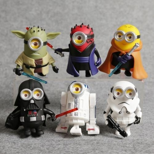 6 Minions Figures Star Wars R2-D2 Yoda Darth Vader Maul Stormtrooper Jedi Knight