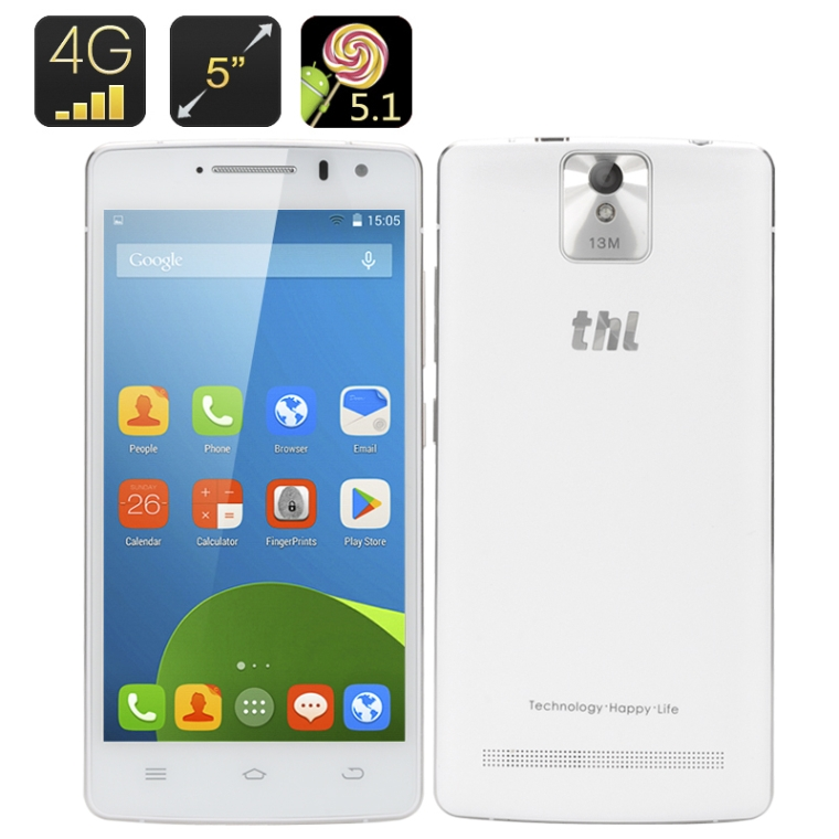 Android Smartphone - 5 Inch HD Screen, Android 5.1, Quad Core CPU, 4G, OTG, Smart Wake, Gesture Sensing (White)