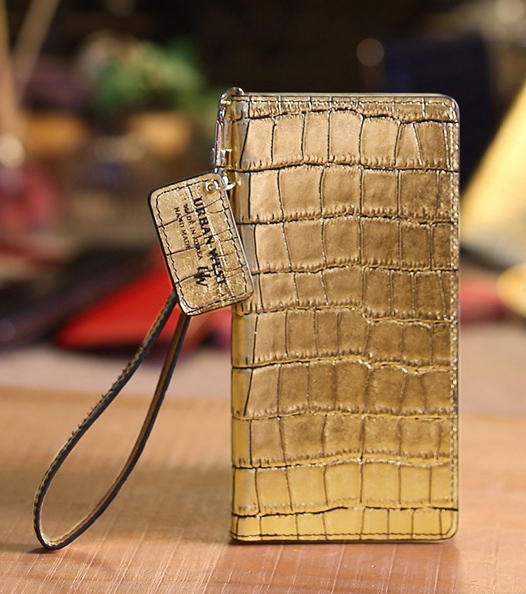 Crocodile Pattern Hand Made Flip Phone Case GALAXYS6 GOLD