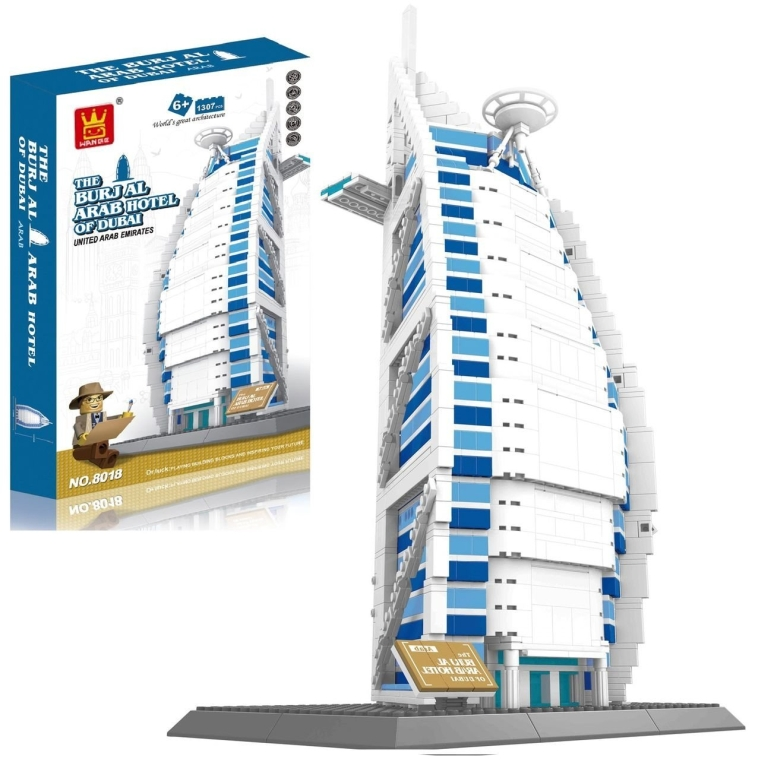 Burj Al Arab Hotel Of Dubai located in the United Arab Emirates Building Blocks 1307Pcs set