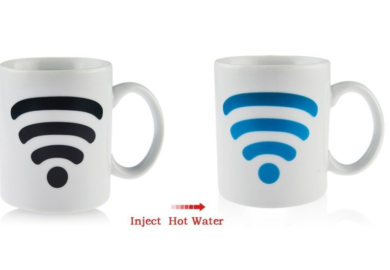 Magic Heat Sensitive WiFi Signal Pattern Color Changing Mug Ceramic Coffee Tea Cup