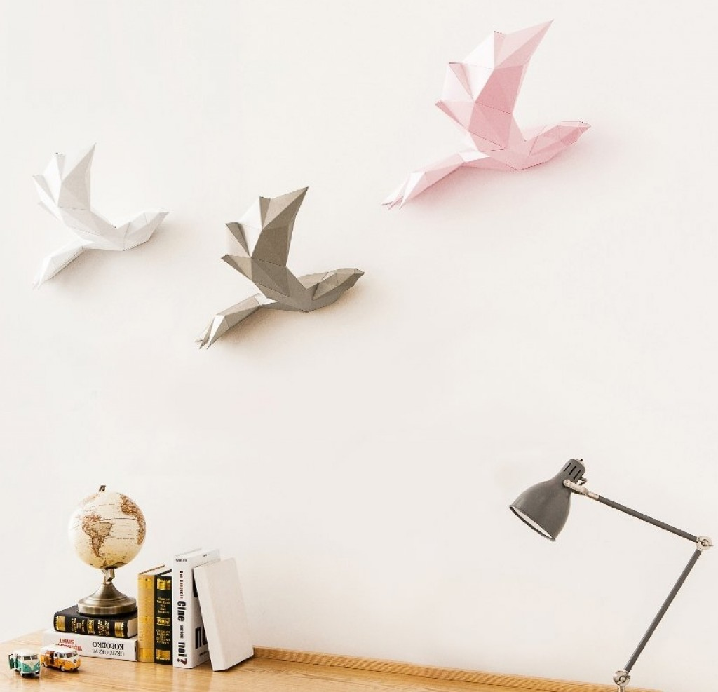 Papa Home Decoration Diy Paper Art Bird Gold Gadgets
