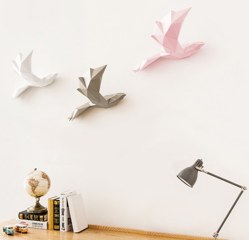 PAPA  Home Decoration DIY Paper Art - Bird Gold
