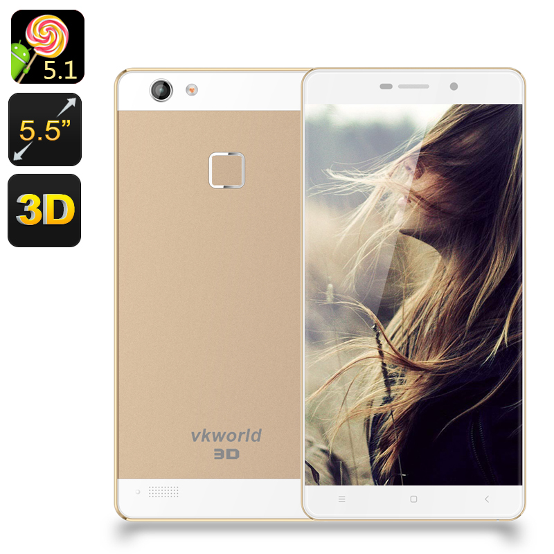 VKWorld Discovery S2 Smartphone - 5.5 Inch FHD 3D Screen, Gorilla Glass, Fingerprint Scanner, Dual SIM 4G, Smart Wake, OTG