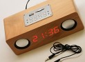 ENUO Natural Birch Veneer Wooden LCD Boom-box Alarm Clock