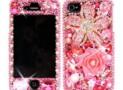3D Swarovski Pink Flower Crystal Bling Case Cover for iphone 4