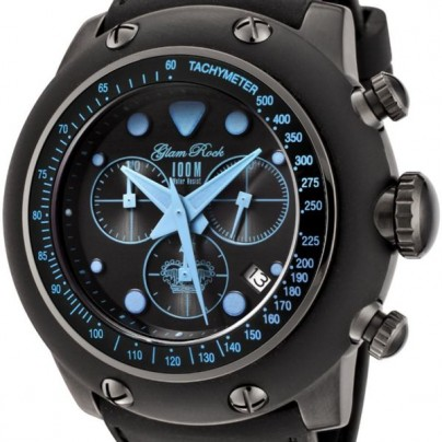 Glam Rock Men's Racetrack Collection Chronograph Black Silicone Watch