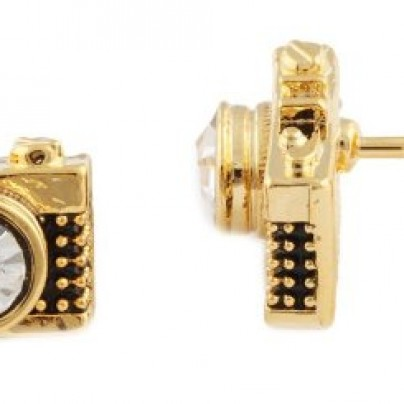 Gold Camera Stud Earrings