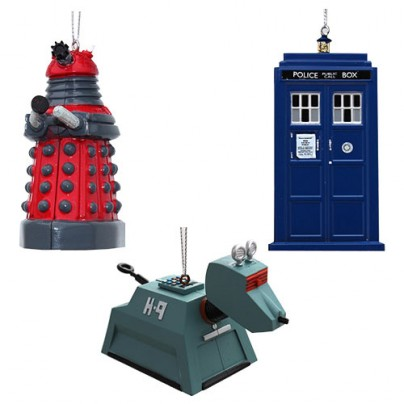 Doctor Who Blow Mold Figural Christmas Ornament Set