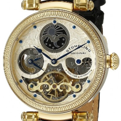 Magistrate Automatic Skeleton Dual Time Gold Tone Watch