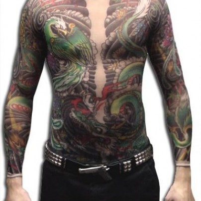 Men's Geisha Dragon Full Body Tattoo Shirt