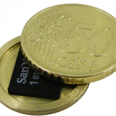 Micro SD Card Covert Spy Coin – Secret Compartment