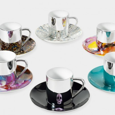 Mixed Anamorphic Cup And Saucer Set