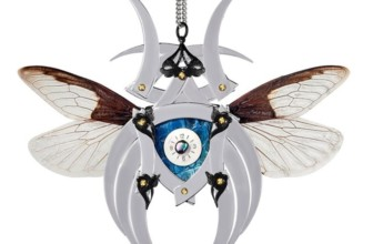 Silver Cobra Butterfly Kabuto Necklace