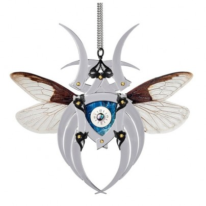 Silver Cobra Butterfly Kabuto Necklace