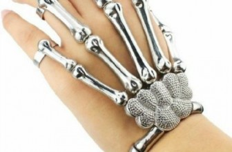 Silver Punk Rock Skeleton Skull Hand Bone Ring Bracelet