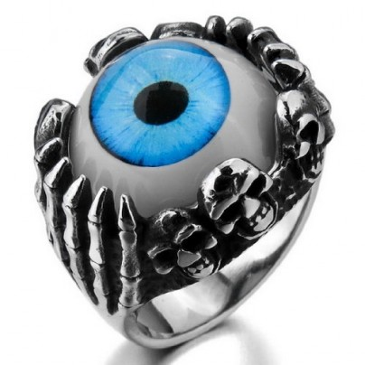 Skull Claw Blue Eye Silver Unique Ring