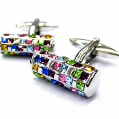 Multi Color Crystals Tube Cufflinks 72 Stones