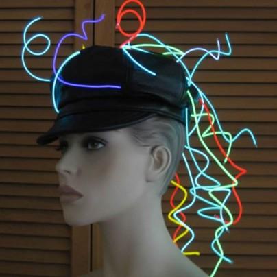 cap with EL wire spirals