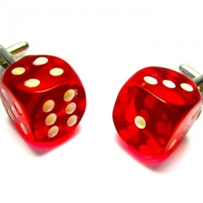 Red Glow In The Dark Dice Cufflinks
