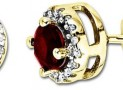 Yellow Gold Round Ruby Diamond-Framed Stud Earrings