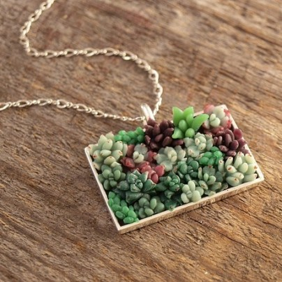Rectangular Succulent Garden Necklace