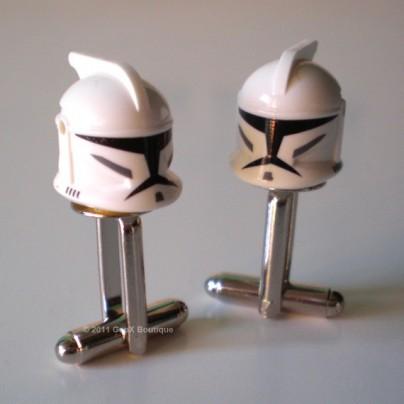 LEGO Star Wars Clone Tropper Helmet Silver Cufflinks