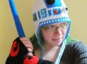 R2D2 earflap beanie hat crocheted Star Wars fan