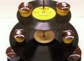 Retro Vintage Record Cupcake Stand 3 Tier Pedestal Dessert