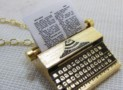 Typewriter Necklace Miniature Charm Pendant 18K Gold Plated Brass Type Writer