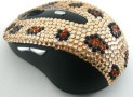 Wireless USB Optical Scroll Wheel Gold Leopard Crystal