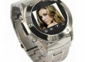 Quad Band Stainless Steel FM Radio Watch Cell Phone Silver